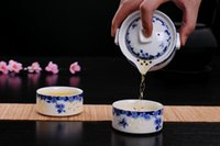 ingrosso porcellana facile-Ceramica bella e facile Teiera Drinkware 1POT 2CUPS porcellana TeaPot Tea Cup Gaiwan Viaggi Set da tè teaset tazza tazza di tè