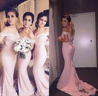Wholesale Cheap Blush Formal Dresses - 2016 Blush Pink Cheap Long Bridesmaid Dresses Lace Spring Maid of Honor Gowns Mermaid Formal Wedding Party Gowns BA1087