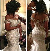 2015 wedding dresses al por mayor-2015 retrato de sirena de abalorios de organza sin espalda lentejuelas fuera del hombro vestidos de novia de tren de barrido vestidos de novia por encargo vestidos de novia