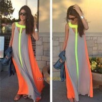 Wholesale Striped Chiffon Long - Women's Summer Boho Long Maxi Dress Evening Cocktail Party Beach Chiffon Dresses