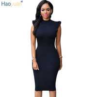 HAOYUAN Sexy Bodycon Платье без рукавов Vestidos Backless Turtleneck Robe Club Boho вечерние платья Дамы Red Black Summer Dress q1110