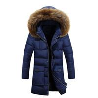 kürk yakalı uzun ceket erkek toptan satış-Erkek Parkas Kore Versiyonu Ince Genç Tüy Fermuar Tarzı Kürk Yaka Ceketler Sıcak Ceket Adam Uzun Bölüm Için Kalın Pamuk Ceket