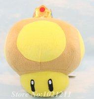 "Wholesale Super Mario Golden Mushroom Plush - Wholesale-Free Shipping 1pcs Lot Super Mario Bros GOLDEN MUSHROOM 8"" Plush Toy New Wholesale and Retail"