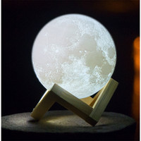 Wholesale magical balls - 3D LED Night Magical Moon LED Light Moonlight Desk Lamp USB Rechargeable D Light Colors Stepless for Home Decoration Christmas lights