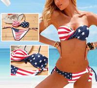 ingrosso bandiera americana bandiera imbottita-Il più nuovo Summer Lady Push-up imbottito USA Bikini BOHO bandiera americana frangia nappa fasciatura costumi da bagno costumi da bagno