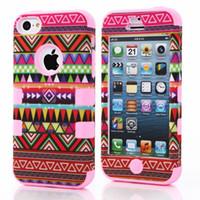 Wholesale Tribal Cases Design - Wholesale-Tribal Aztec Design Robot Phone Cover Case for Apple iPhone 5C Silicone + Plastic Protective Case Pouch 4 Colors