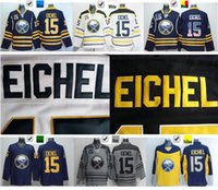 Wholesale Cheap Usa Flags - 2016 New, Cheap Buffalo Sabres #15 Jack Eichel Jersey Team Blue Away White Yellow Stitched Jersey Blue USA Flag Fashion Jerse