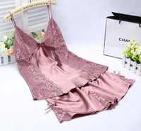 Wholesale Thin Silk Nightgown - Wholesale-2015 The new sexy hollow-out bud silk pajamas, female thin silk condole belt nightgown, home dress infinite temptation
