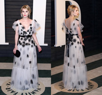 Wholesale Emma Roberts White Dress - 2016 Oscars Evening Dresses Deep V Neck Ribbons Flower Applique Sweep Train Short Sleeve Emma Roberts Celebrity Spring Formal Party Gowns