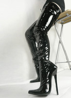 Wholesale Thigh High Boots Red Sale - Hot Sale Sexy Pointed Toes 18cm Spike High Heel Thigh High To Buttocks for Women Black Patent PU Leather Boots COS Stage Show