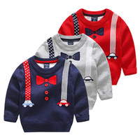 Wholesale Baby Girls Winter Jumpers - New Kids Sweater Winter Spring Baby Kids Knitted Sweater Top Boys Gentleman Sweater 5 p l