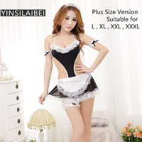 Wholesale Women S Lingerie For Men - Hot Sexy Maid Costume Erotic Lingerie Porno Costumes XXXL Plus Size Lingerie Lace Baby Doll Exotic Apparel for Women NK907#10