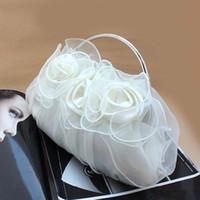 Wholesale White Satin Wedding Clutch - Women's Satin Flower Design Clutch Bag Sparking Chain Shoulder Bag Wedding Party Clamshell Handbag hb263