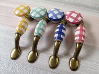 """Wholesale Rustic Cabinet Doors - 3"""" Checkered Dresser Pulls Drawer Pull Handles Knobs Cabinet Pull Handle Rustic Furniture Door Knob Hardware Colorful"""