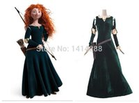 Wholesale Merida Party - Wholesale-Free Shipping Brave Movie cosplay Princess Merida Cosplay Costume Outfit Halloween party princess cosplay clothes F-1001