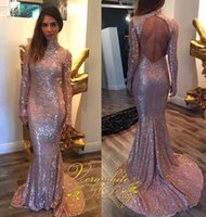 black water trailer - Bling Bling pink sequined mermaid stunning evening dress long sleeved turtleneck halter dress short short trailer tow Custom