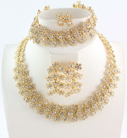Wholesale Gold Plated Bridal Necklace Sets - Fashion Women Gold Plated Crystal Bridal Jewelry Sets Alloy Necklace Bracelet Earring Ring Jewelry Sets