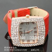 Mesa shipping2015Square mayor-libre Diamond Ladies Watch Corea del Sur pulsera reloj correa de cuero importado ropa de color naranja