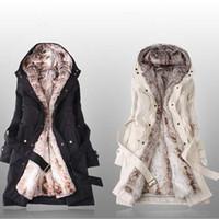 Wholesale Women S Down Coat Belt - 2016 Winter Women Down Coats Fashion Long Sleeve Plus Size Long Trench Coat Casual Faux Jackets Parka Clothing Outwear Overcoat Tops D15