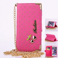 Wholesale Cherry Shiny - Luxury shiny cherry pattern Flip Leather Wallet Case with sky star+ golden chain for iphone5S 6S i6 plus galaxy S4 S5 S6 S6 edge note4 3 2