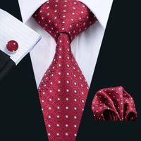 Fast Shipping Tie Set Marron White Dot Silk Mens Pocket Square Classic Silk Jacquard Woven Wedding Business Casual Necktie N-1018