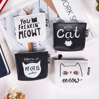Creativo Black White Cat Silicone Zipper Bags Zero Wallet Criança Girl Boy Purse Lady Women Coin Wallets Bolsa Bolsa