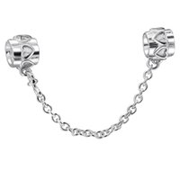 Wholesale European Sterling Silver Safety Chain - Hearts 925 Sterling Silver Beads Safety Chain 4mm Spacer Initial For Pandora European Charms Women Chain Jewelry DIY Bracelet Bangle
