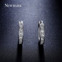 square diamond earrings for men - NEWBARK Squared Loop With pieces Tiny CZ Diamond Inlayed Small Hoop Earring for Men and Women