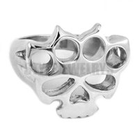 Wholesale Skull Rings Box - Free shipping! Silver Boxing Glove Skull Ring Classic Stainless Steel Jewelry Fashion Motor Biker Ring Men Women Ring SWR0417