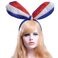 mavi kedi kulakları toptan satış-Mavi Beyaz Kırmızı Bayrak Uzun Kulaklar Parlak Ipek Kumaş Çember Saç aksesuarları süsler kadınlar için Elastik bantları Saç klipler Kedi kulaklar yaylar