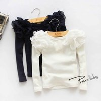 Wholesale Lace Undershirts Girls - Girls Flower T-shirts Lovely Baby Kids Clothing Long Sleeve Fashion Lace Primer Shirts All Match Korean Children Undershirts 2 Color 9126