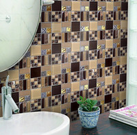 Wholesale Metal Wall Strips - Popular Coffee stone glass mosaic tiles Home improvement metal design stainless steel mosaic tiles wall mounted mosaic pattern