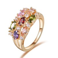 Wholesale Gold Plated Zircon Ring - ORSA Luxury 18K Rose Gold Plated Colorful AAA Austrian Zircon Crystal Mona Lisa Ring For Women Birthday OMR01