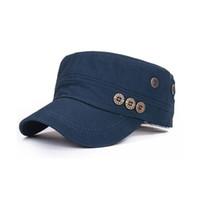 Wholesale Navy Sailor Cap - New Fashion Military Cap for Women Men Military Hat Cotton Army Caps Sailor Navy 5 Colors