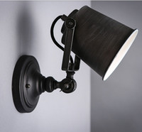 Wholesale swing painting resale online - Personalized Iron Material European Creative Vintage Swing Arm Lights Black Hand Painted Wall Light Stair Lamp Indoor Decor