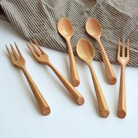 Wholesale Schima Superba Beech Rubber Wood Spoon Fork Flatware Sets Burlywood Japanese Style Spoons Fork cm MOQ Sets