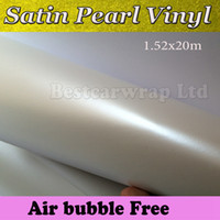 Wholesale Sticker Wrapping Film White - White pearl Satin Matte Vinyl Wrap Film Pearl Wrapping Car Wrap Film With Air Bubble Free Car Stickers Free shipping Size 1.52x20m Roll