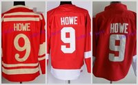 Wholesale Detroit Patch - Men's Detroit Red Wings Throwback Hockey Jerseys #9 Gordie Howe Jersey CCM Red White 2016 Camo Cheap Stitched Jerseys C Patch