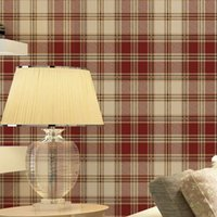 Wholesale Grid Roll - England grid wallpaper British American pastoral Scottish plaid non-woven wallpaper living room modern bedroom wallpaper