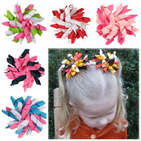 "Wholesale Korker Flowers - 30pcs Children's curlers curly ribbon hair bows clip flowers 3.5 "" corker hair barrettes korker ribbon baby clip hair accessories kids PD007"