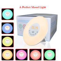 Wholesale round alarm clock light resale online - Hot Sale LED Novelty Lights with Digital Alarm Clock Night light with Wake Up FM Radio Colorful Light