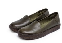 Wholesale genuine leather women shoes drop shipping resale online - drop shipping genuine leather women handmade leather flats slip on shoes green brown boat shoes size35