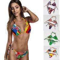 Wholesale Union Jack Bikini Swimwear - 2015 lady Bikini Union Jack Flag Swimwear UK Stars Stripes Flag Twist Padded Flag Halter Bathing Suit Flag Bikini S404M