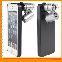 Wholesale Magnifiers Covers - Wholesale-Dual-purpose Mobile Cell phone Case Protective Back Cover with 60X Zoom Mini Microscope Magnifier for iPhone 5   5S