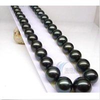 Wholesale 2015 NEW HUGE mm AAA Tahitian Black Pearls Necklace k FREE BOX