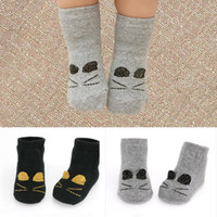 Wholesale Wholesale Black Socks For Boys - 2018 Cute Catoon Boy Girl Socks Gold Printed Cat Lovely Black Grey Socks For Children Warmer Sock Cotton Kids Socks 30pairs lot A8012