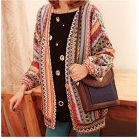 Wholesale Extra Long Coats Women - Fashion Autumn Womens Boho Ethnic Style Woven Knit Coat Stripes Top Cardigan Sweater Oversized Sweaters