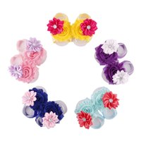Wholesale Kids Shoe Covers - Toddler Baby Sandals Shabby Chic Flower Shoes Cover Barefoot Foot Flower Ties Infant Children Girl Kids Walker Shoes Photography Props