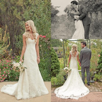 Wholesale Design Back Wedding Dress - 2015 autumn ivory lace mermaid wedding dresses A-line floor length cap sleeves scoop backless sweep train Garden Bridal Gowns new design