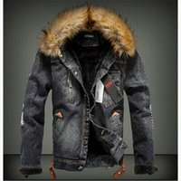 Wholesale Trench Fur Lining - Fall-2016 Mens Fur Collar Fur Lining Denim Moto Thick Jacket Warm Coat Trench Outwear 2 Colours Free Shipping